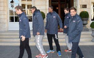 Le capitaine de l'équipe de France de Coupe Davis, Arnaud Clément (à d.), en compagnie de ses joueurs (de g. à d. Gasquet, Tsonga, Monfils et Simon).
