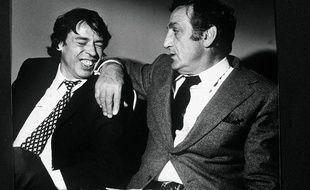 Jacques Brel et Lino Ventura sur le tournage de L'emmerdeur, tourné à Montpellier.