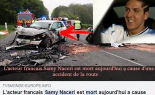 La publication Facebook du canular annonçant la mort de l'acteur Samy Naceri dans un accident de voiture.