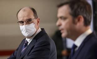 Jean Castex et Olivier Véran lors de la conférence de presse du 7 janvier 2021. .