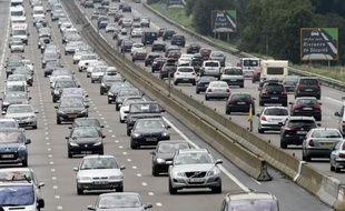 Circulation dense le 2 août 2014 sur l'A7 près de Vienne