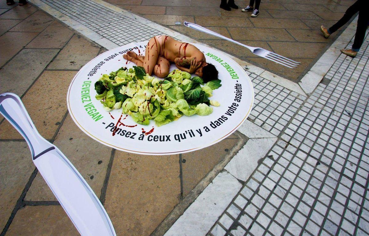 La militante vegan s'est allongée sur la Comédie. – D.R.