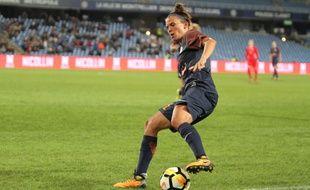 Katrine Veje, auteur de la passe décisive sur le troisième but montpelliérain, et les filles du MHSC ont assuré un beau succès à Brescia (2-3) en 8e de finale aller de la Ligue des champions féminines (archives).