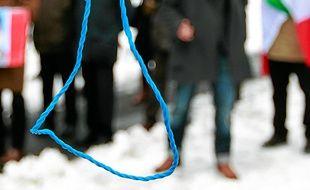 Des Iraniens manifestent contre la peine de mort à Bruxelles, en 2010.