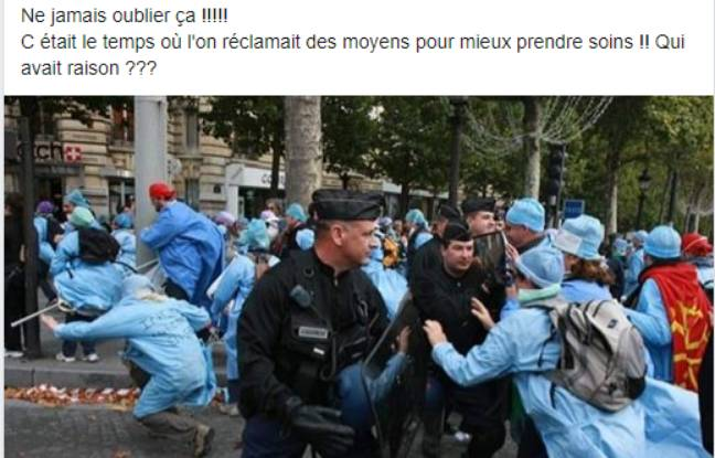 Des photos de manifestations de soignants sur Facebook.