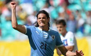 EdinsonCavani, le nouvel attaquant du PSG, lors d'un match de l'Uruguay au brésil, le 30juin 2013.