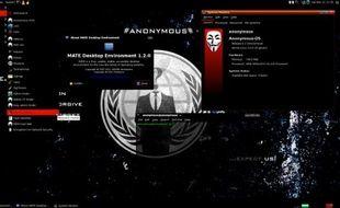 Le bureau du système d'exploitation Anonymous-OS.