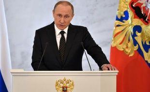 Le président russe Vladimir Poutine s'adresse à la nation, le 3 décembre 2015 au Kremlin, à Moscou