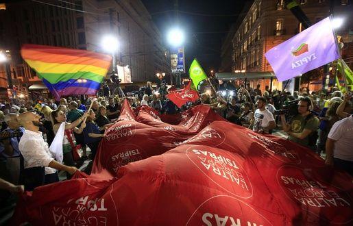 Des partisans de Syriza clbrent leur victoire,  Athnes, le 20 septembre 2015. -  Lefteris Pitarakis/AP/SIPA