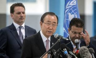 """Le patron de l'ONU Ban Ki-moon qualife à Gaza le blocus israélien """"punition collective alimentant l'escalade"""" des violences, le 28 juin 2016"""