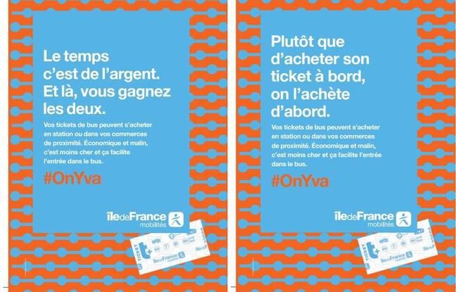 La campagne d'affichage d'Ile-de-France Mobilités pour inciter les voyageurs à ne pas acheter leur titre de transport dans le bus mais en station ou chez un commerçant pour ne pas perdre de temps en trajet.