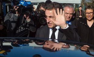 Nicolas Sarkozy en visite à Fessenheim, le 12 mars 2015. AFP PHOTO / SEBASTIEN BOZON