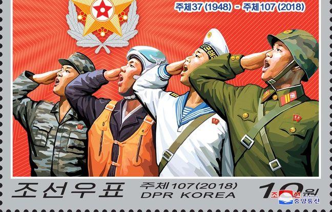 Un timbre commémoratif du 70e anniversaire de la fondation de l'armée nord-coréenne.