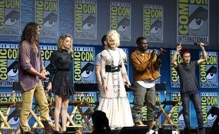 L'équipe du film «Aquaman» avec Nicole Kidman au Comic Con de San Diego le 21 juillet 2018.
