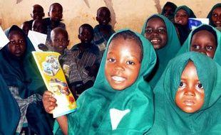 """Des élèves de """"l'école des prouesses du futur"""" de la fondation islamique, à Maiduguri, dans le nord-est du Nigeria, le 23 mai 2014"""