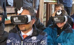 Rust, le 17 septembre 2015 -EuropaPark a présenté sa nouvelle attraction «L'express des Alpes VR-Ride»: un grand huit avec des lunettes de réalité virtuelle.