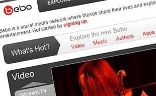 Capture d'écran de la page d'accueil de Bebo.