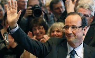 François Hollande, lors de l'annonce de sa candidature aux primaires socialistes, le 31 mars 2011 à Tulle en Corrèze.
