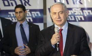 Benjamin Netanyahu lors d'un meeting le 11 mars 2015 à Netanya