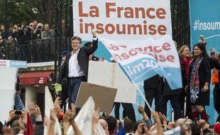 Jean-Luc Mélenchon en meeting à Paris le 5 mai 2016.