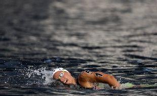 Aurélie Muller au 10km en eau libre aux Championnats du monde de natation, à Yeosu (Corée du Sud), le 14 juillet 2019.