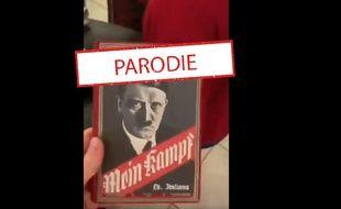 La couverture de Mein Kampf collée à un livre de Jules Verne.