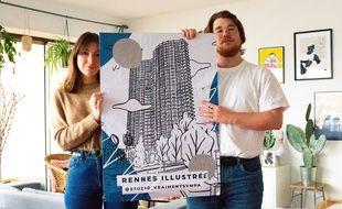 Romane Guyomard et Benjamin Rolland ont réalisé des affiches de l'architecture de Rennes.