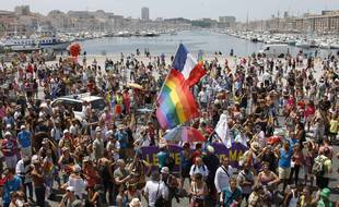 Demonstrators take part in the  Europride gay rights march 2013, on the Old-Port, in Marseille, southern France, Saturday, July 20, 2013.  (AP Photo/Claude Paris)/MAR113/694387016167/1307201928