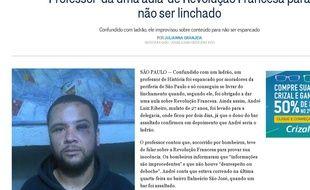 Capture d'écran du site d'informations brésilien O Globo