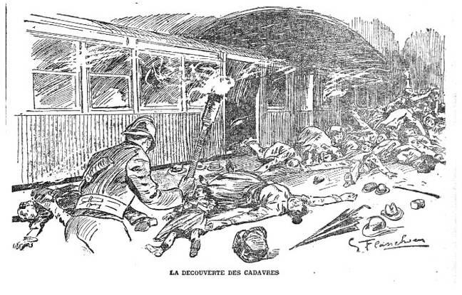 La découverte des cadavres illustrée dans l'un des titres d'époque.