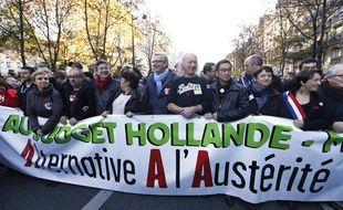 Manifestation contre l'«austérité» à Paris le 15 novembre 2014.