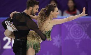 Les Français Guillaume Cizeron et Gabriella Papadakis pendant le programme court, le 19 février 2018.