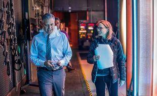 George Clooney et Jodie Foster sur le tournage de Money Monster