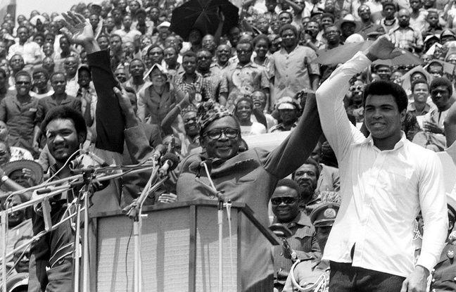 George Foreman et Mohamed Ali avec le dictateur du Zaïre Mobutu, en septembre 1974.