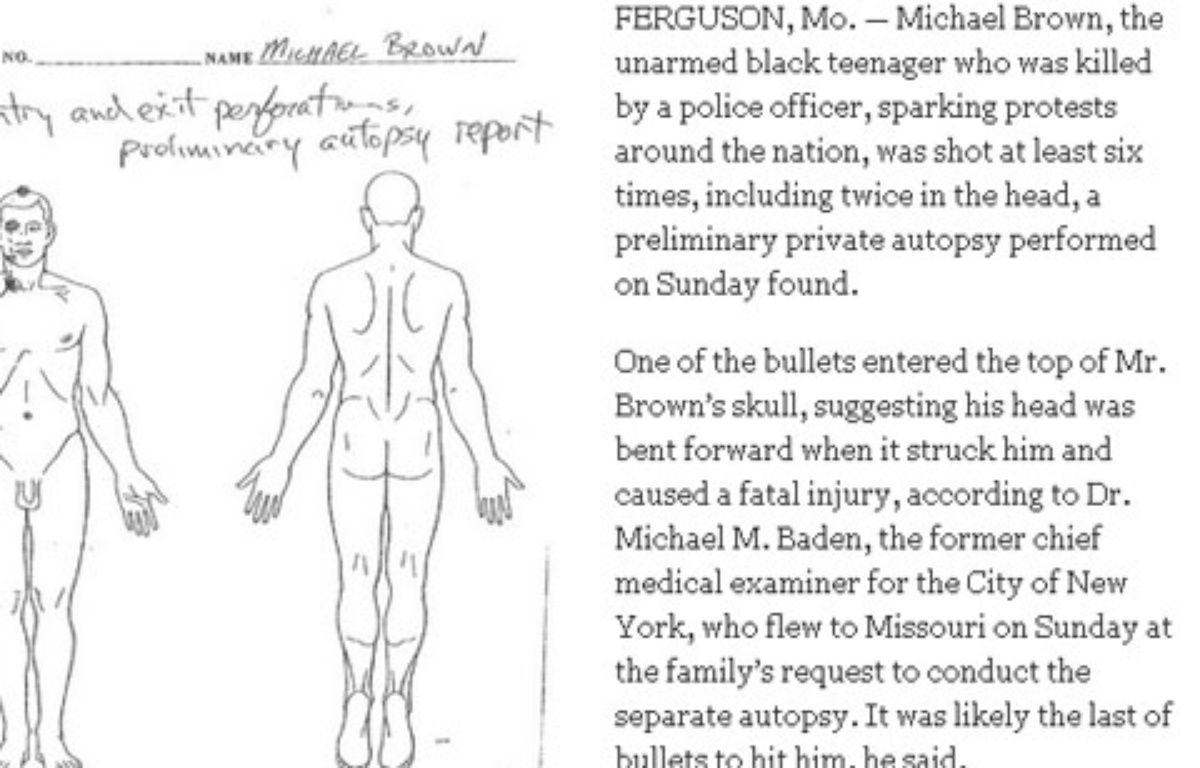 Document issu de l'autopsie de Michael Brown, publié par le New York Times – Capture New York Times