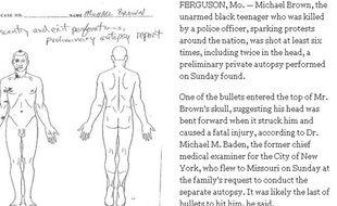 Document issu de l'autopsie de Michael Brown, publié par le New York Times