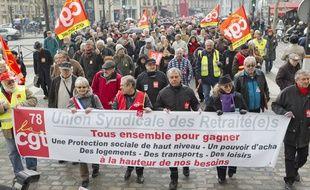 Paris le 28 mars 2013. Manifestation des retraites contre le systeme de revalorisations des retraites complementaires ARRCO/AGIRC.