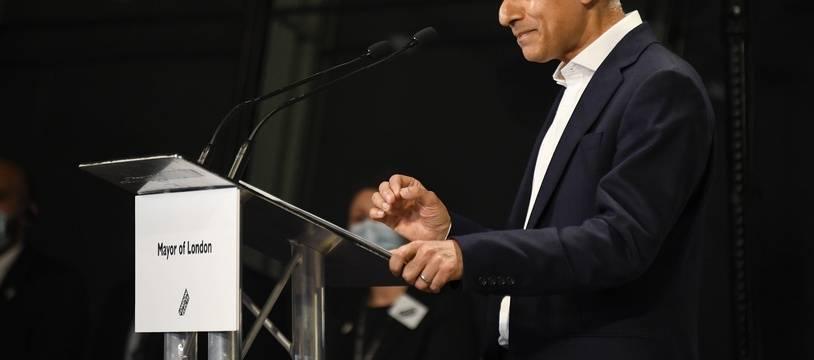 Sadiq Khan, lors de son discours pour sa réélection comme maire de Londres, le 8 mai 2021.