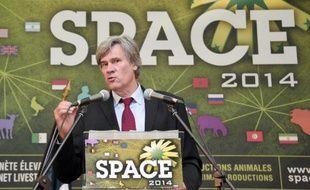 Le ministre de l'Agriculture Stéphane Le Foll le 15 septembre 2014 lors du Space à Rennes.