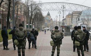 Des policiers des forces spéciales dans les rues de Kiev (Ukraine), en novembre 2016.