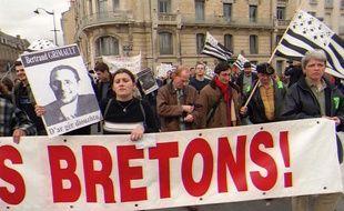 Manifestation de soutien aux indépendantistes bretons à Rennes, le 10 mars 2000.
