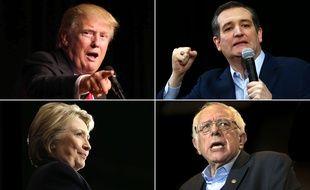 Photomontage des candidats républicains Donald Trump et Ted Cruz (haut) et des démocrates Hillary Clinton et Bernie Sanders (bas)