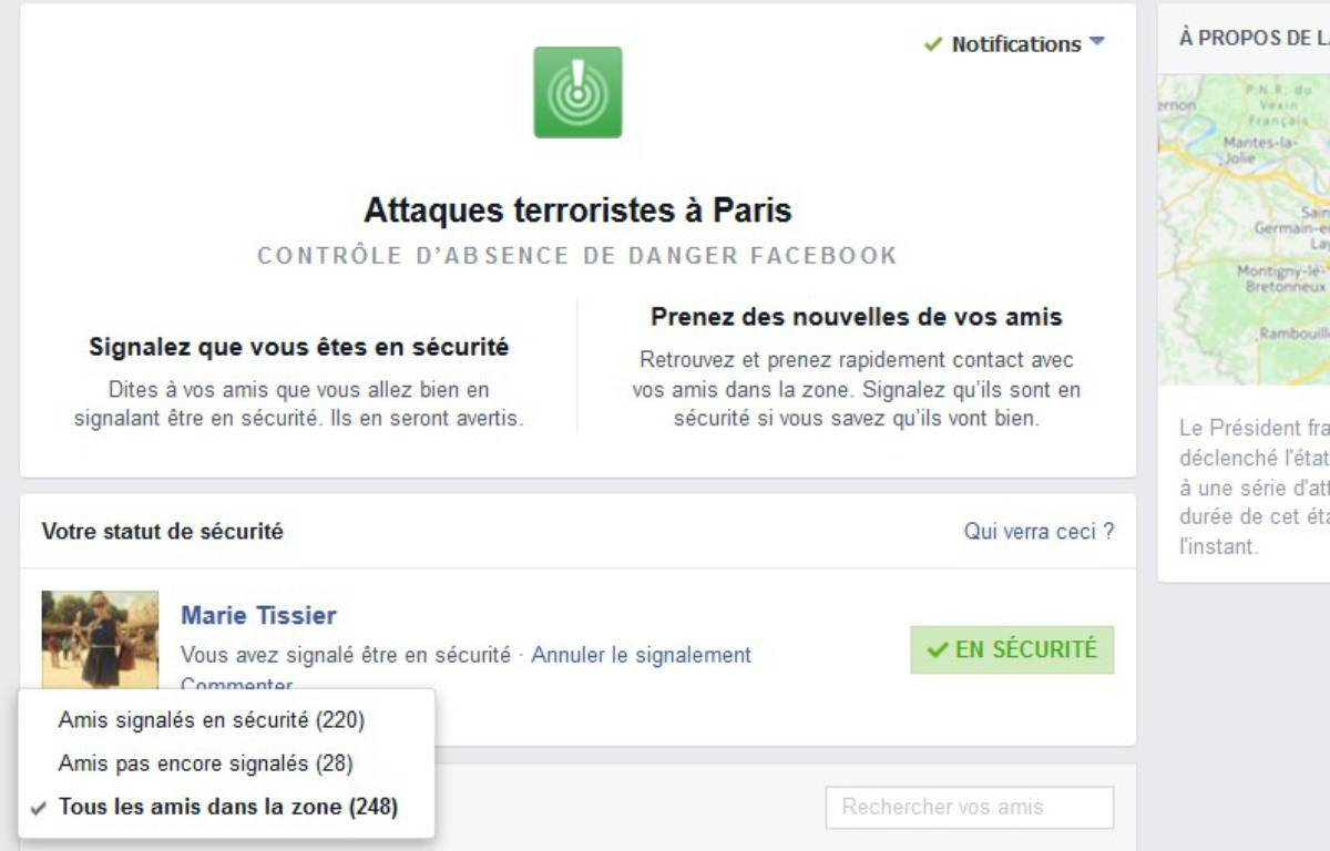 "L'application ""Safety Check"" a été lancée vendredi soir par facebook,  à la suite des attentats dans Paris. – Capture d'écran Facebook"