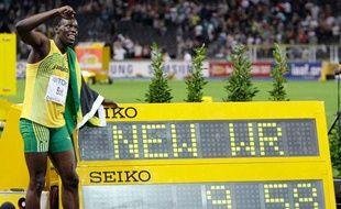 Usain Bolt après son record du monde à Berlin, le 16 août 2009.