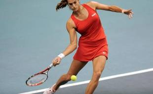 Amelie Mauresmo of France returns the ball to Monica Niculescu of Romania during their match in the Paris Open tennis tournament in Paris February 12, 2009. REUTERS/Jacky Naegelen (FRANCE)