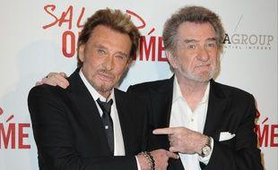 Johnny Halliday et Eddy Mitchell en 2014, lors de la sortie du film «Salaud on t'aime»