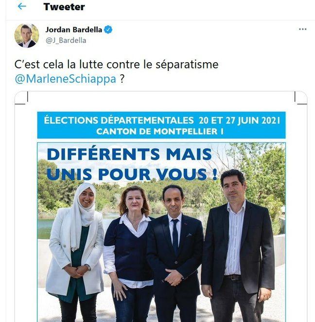Tweet de Jordan Bardella sur l'affiche LREM qui fait polémique.