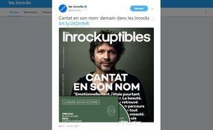 La Une des «Inrocks» consacrée à Bertrand Cantat ce mercredi