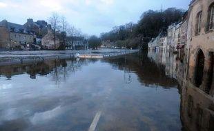 La ville de Quimperlé, dans le Finistère, a subi des inondations. Le 3 janvier 2014.