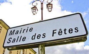 Illustration d'un panneau indiquant la mairie.